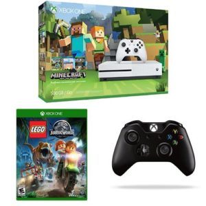 Xbox-One-S-500GB-Console-Minecraft-Bundle-LEGO-Jurassic-Park-and-Extra-Controller-0