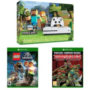 Xbox-One-S-500GB-Console-Minecraft-Bundle-LEGO-Jurassic-Park-and-Teenage-Mutant-Ninja-Turtles-Mutants-in-Manhattan-0